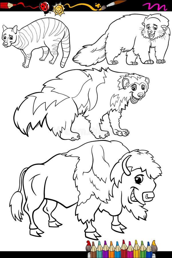 Dieren geplaatst beeldverhaal kleurend boek vector illustratie