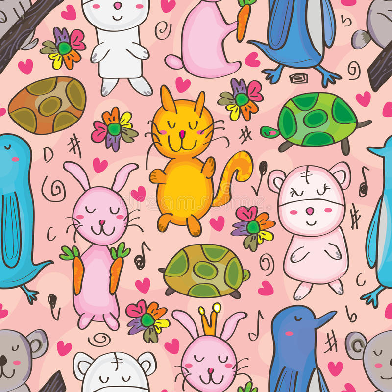 Dieren Getrokken Naadloos Patroon vector illustratie