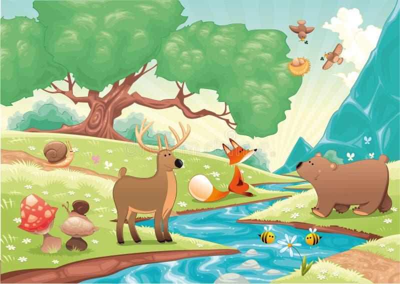 Dieren in het hout. stock illustratie