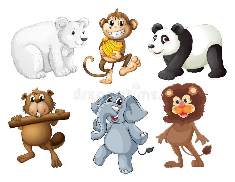Dieren in het hout stock illustratie