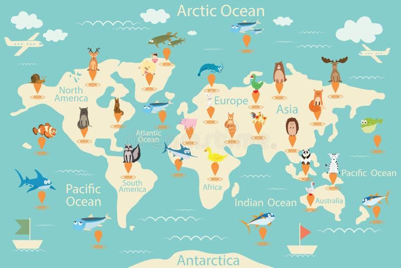 Dieren, kaart van de wereld Wereldkaart voor kinderen Dierenaffiche Continentdieren, het mariene leven Zuid-Amerika, Eurasia, het stock illustratie
