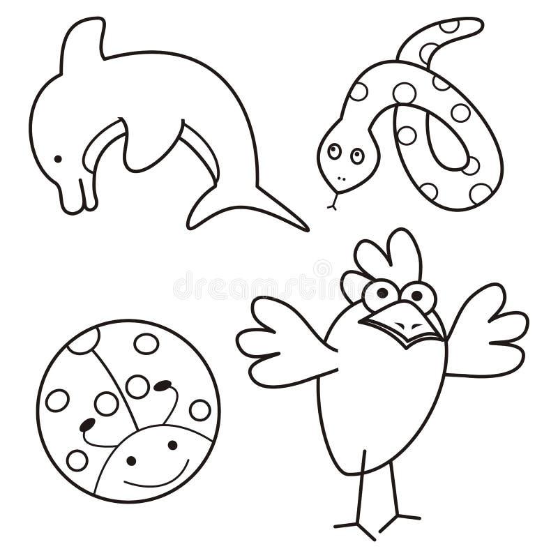 Dieren - kleurend boek stock illustratie