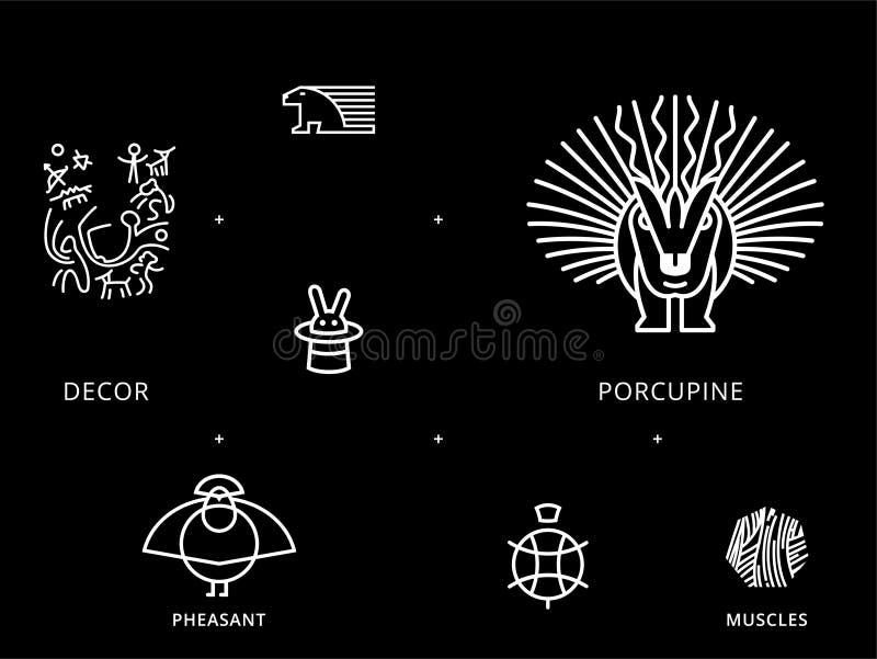 Dieren lineaire symbolen met schildpad, stekelvarken vector illustratie