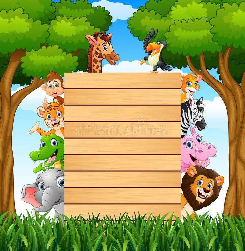 Dieren met een leeg tekenhout in bos vector illustratie