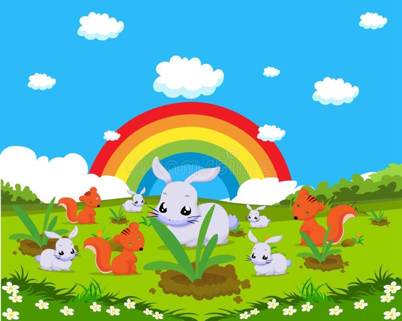 Dieren met konijnen en eekhoorns royalty-vrije illustratie
