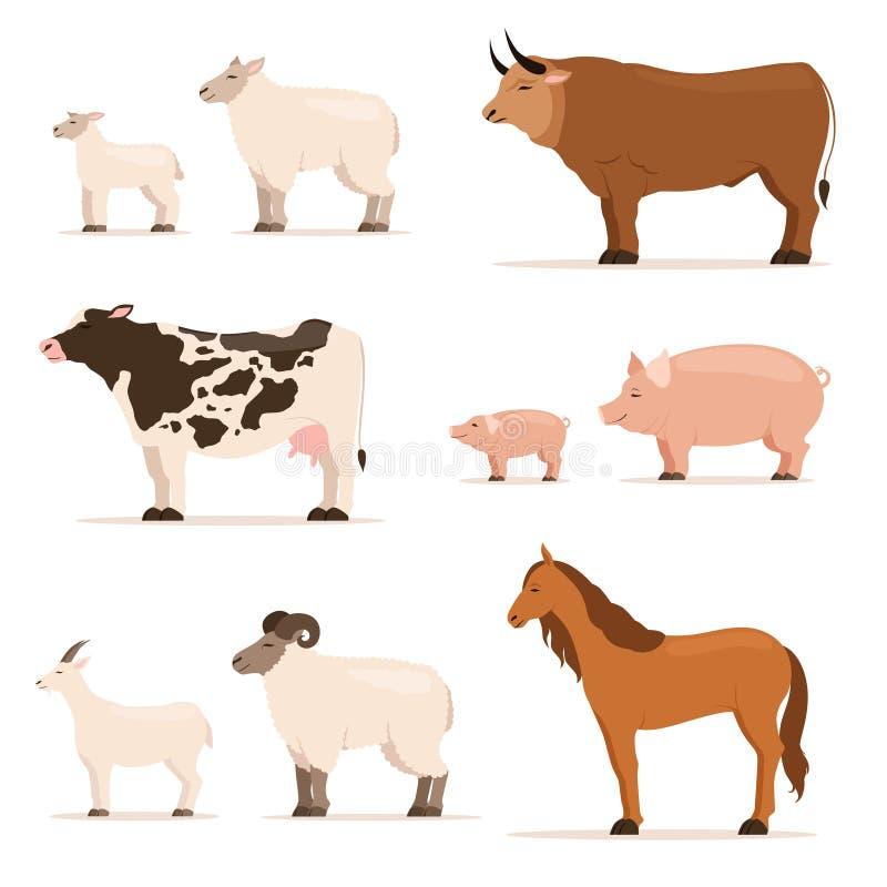 Dieren op landbouwbedrijf Lam, biggetje, koe en schapen, geit Vectordieillustraties in beeldverhaalstijl worden geplaatst royalty-vrije illustratie