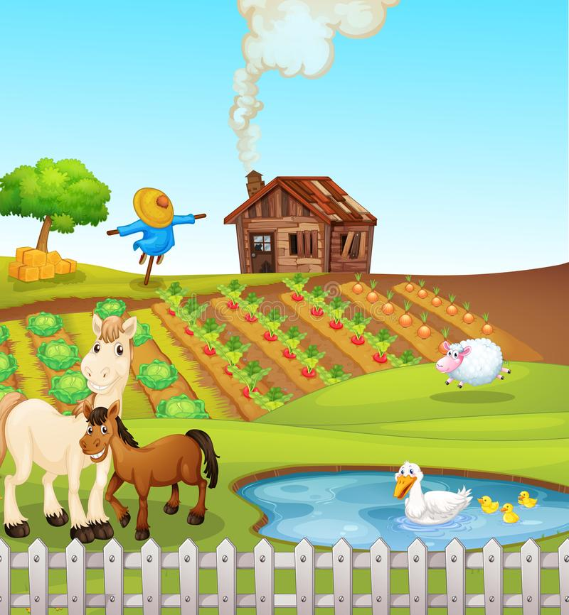 Dieren op landbouwbedrijfscène royalty-vrije illustratie