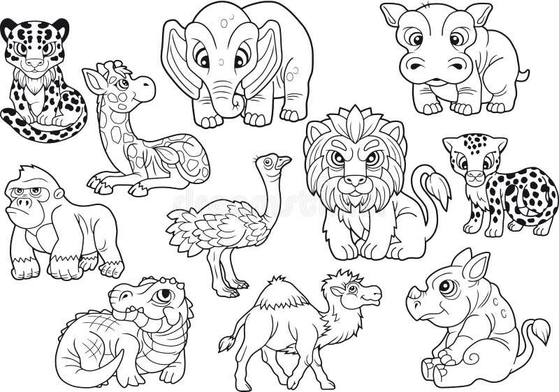 Dieren, reeks leuke vectorbeelden, kleurend boek vector illustratie