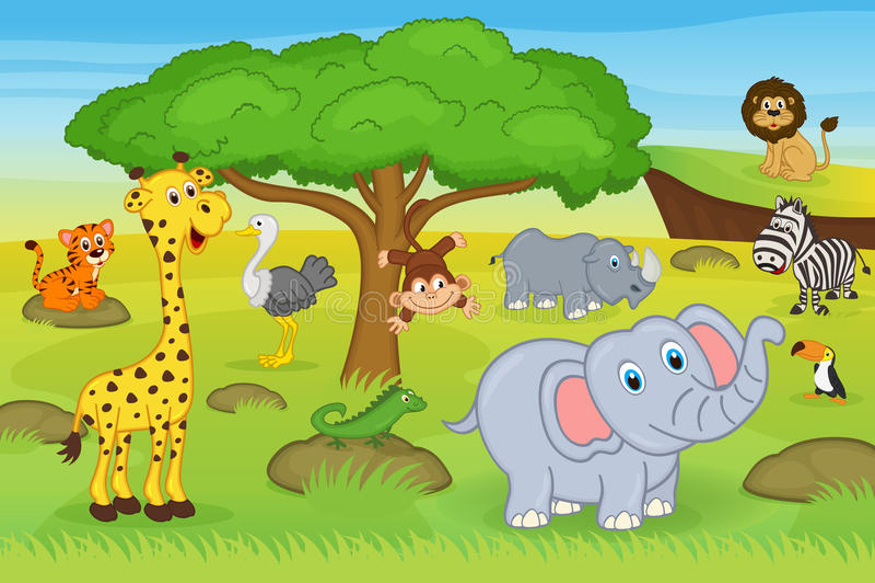 Dieren in safari stock illustratie