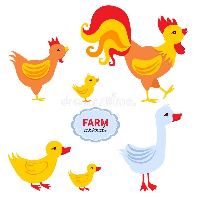 Dieren van de beeldverhaal de leuke die landbouwer, haan, kuiken, kip, eend, gans op witte achtergrond, binnenlandse grappige gep vector illustratie