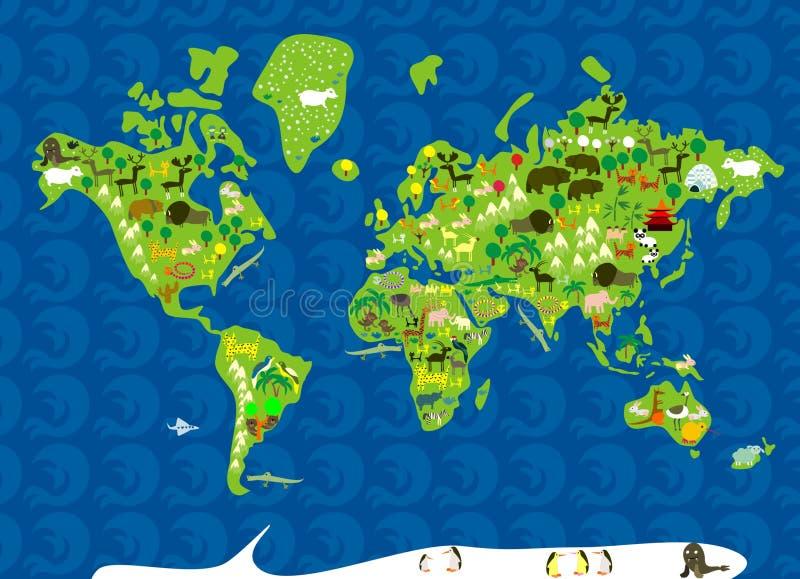 Dieren van de wereld stock illustratie