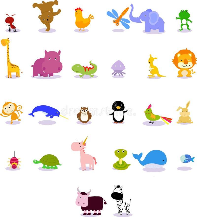 Dieren van dierlijk alfabet vector illustratie