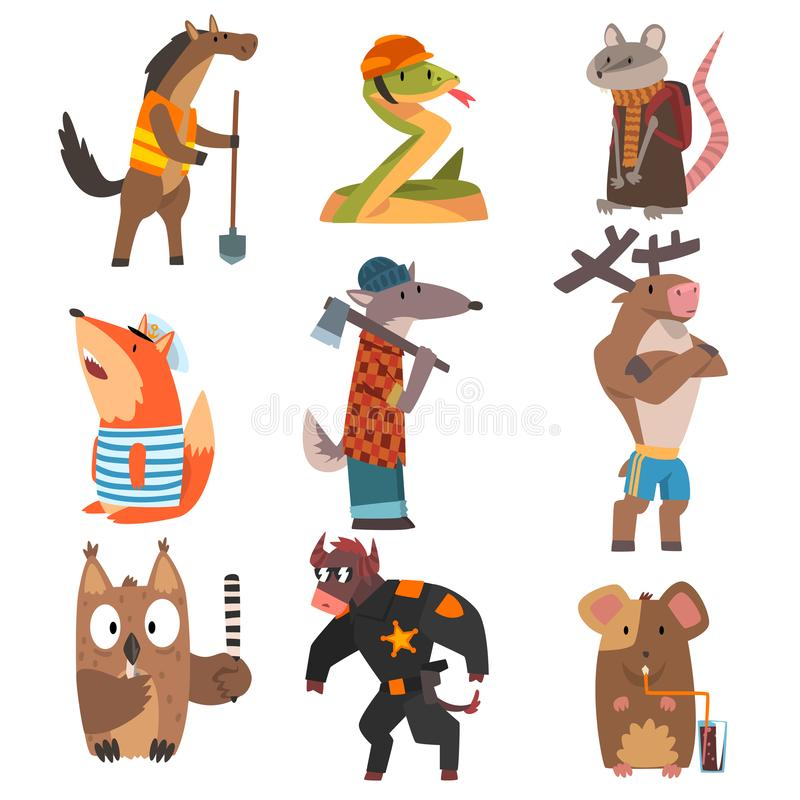 Dieren van Verschillende Geplaatste Beroepen, Paard, Slang, Rat, Vos, Wolf, Herten, Uil, Stier, Muis Vermenselijkt Dierenbeeldver royalty-vrije illustratie