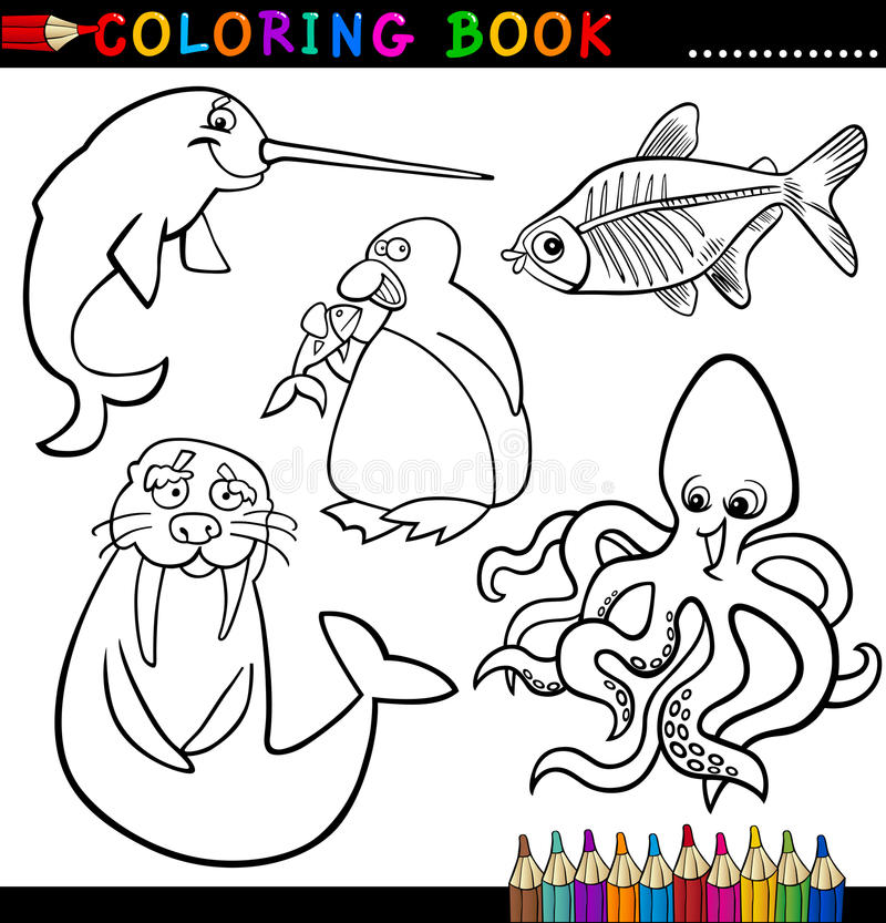 Dieren Voor Het Kleuren Van Boek Of Pagina Stock Foto's
