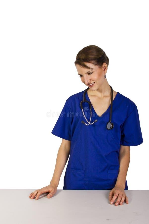 Dierenarts met denkbeeldige patiënt stock fotografie