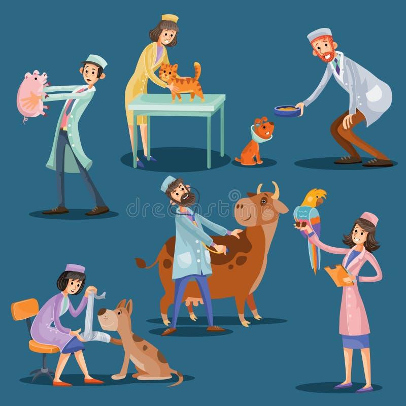 Dierenartsen met de leuke vectorillustratie van het huisdierenbeeldverhaal stock illustratie