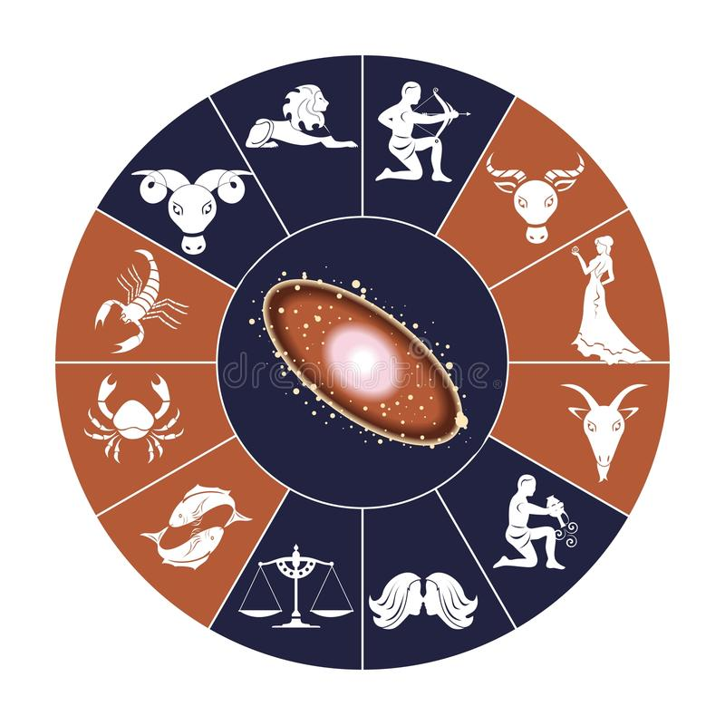 Dierenriem en ruimte stock illustratie