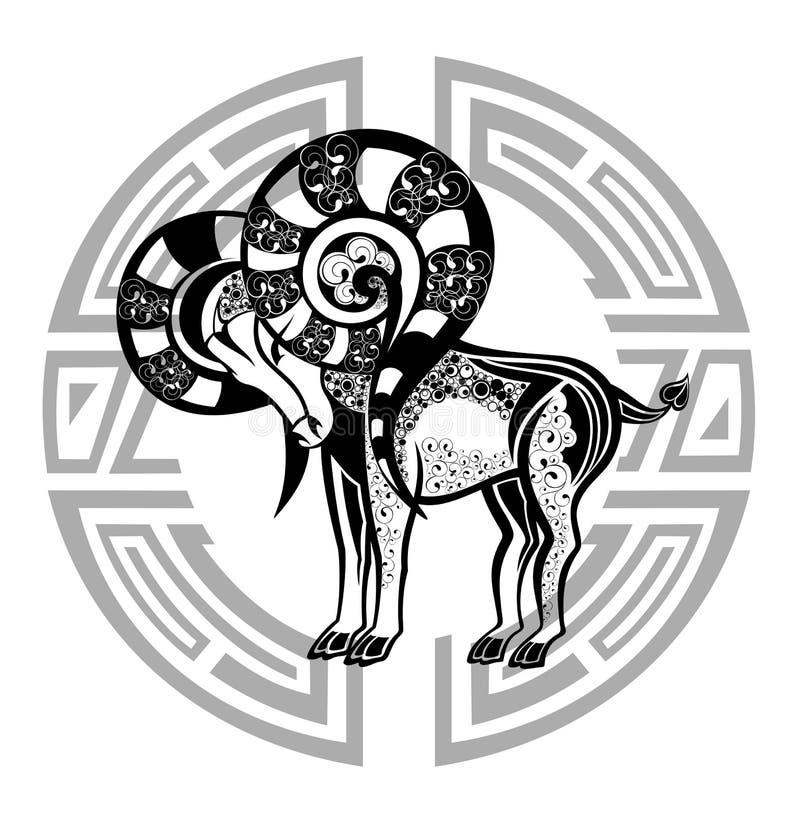 Dierenriem whell met teken van Ram. Het ontwerp van de tatoegering. royalty-vrije illustratie