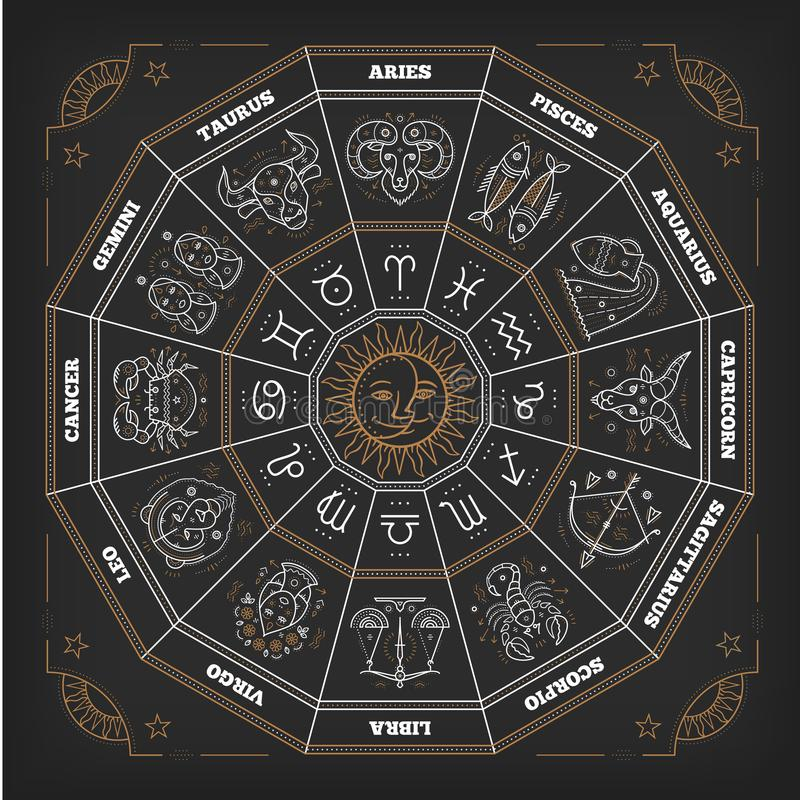 Dierenriemcirkel met horoscooptekens Dun lijn vectorontwerp Astrologiesymbolen stock illustratie