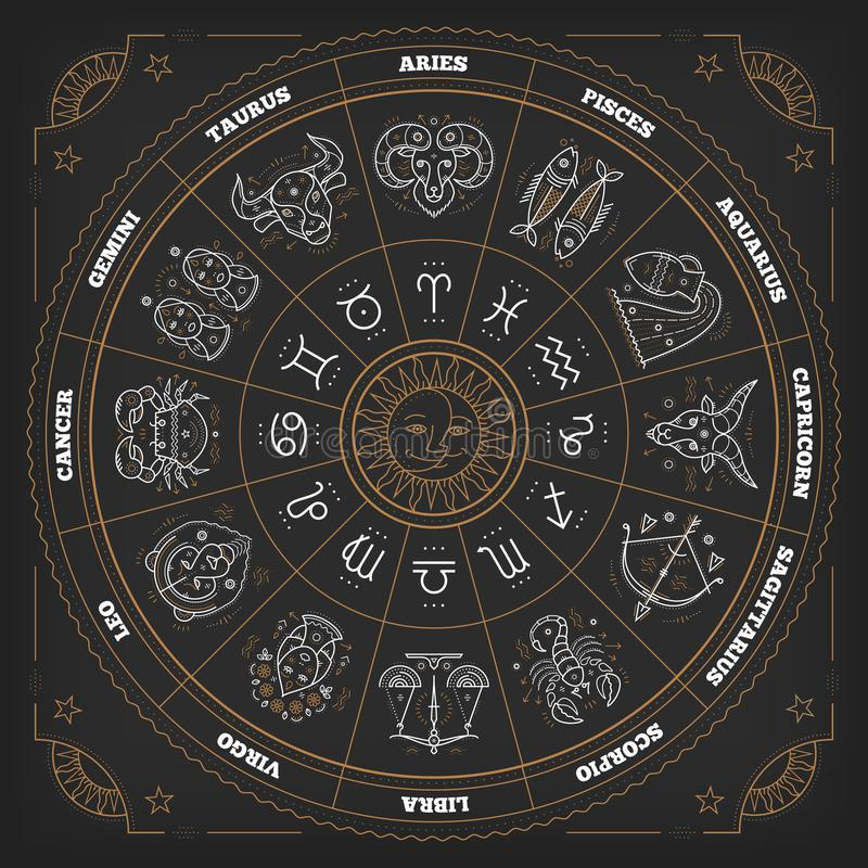 Dierenriemcirkel met horoscooptekens Dun lijn vectorontwerp Astrologiesymbolen en mysticustekens royalty-vrije illustratie