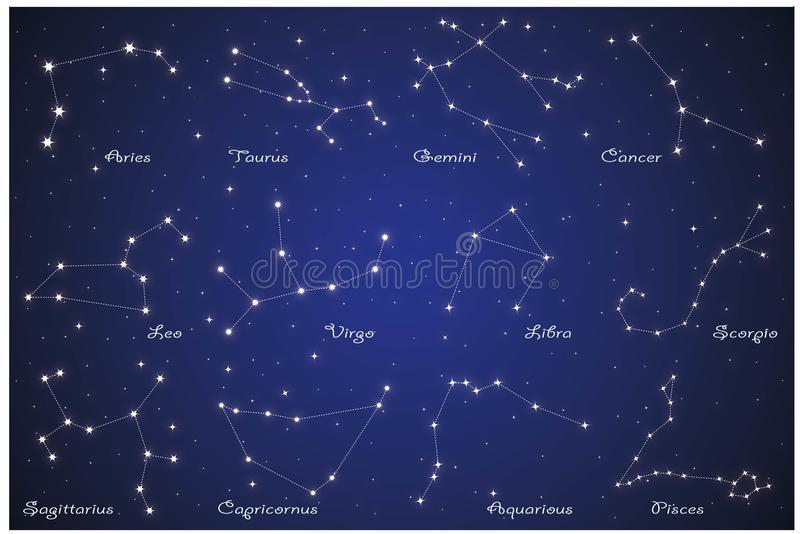 12 dierenriemconstellaties stock illustratie