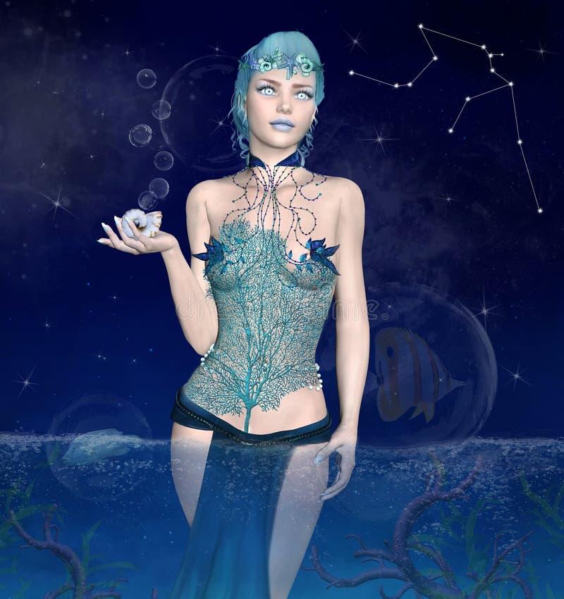 Dierenriemreeks - Waterman als mooie vrouw met shell in haar hand vector illustratie