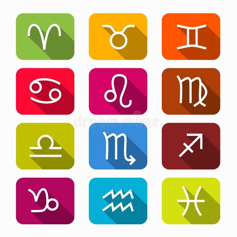 Dierenriemsymbolen op Rond gemaakte Vierkanten royalty-vrije illustratie