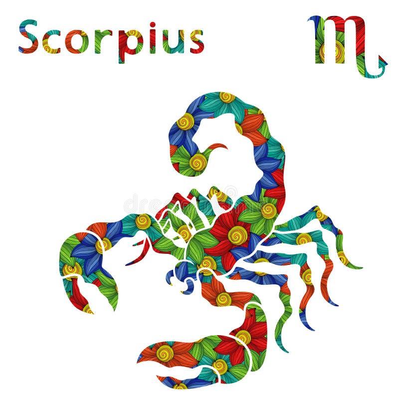 Dierenriemteken Scorpius met gestileerde bloemen royalty-vrije illustratie