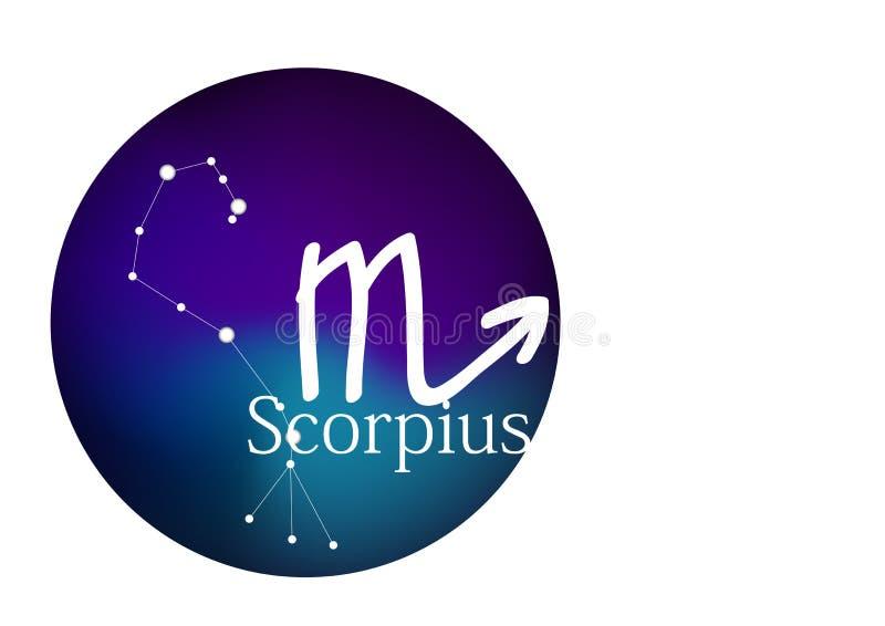 Dierenriemteken Scorpius voor horoscoop, constellatie en symbool in rond kader stock illustratie