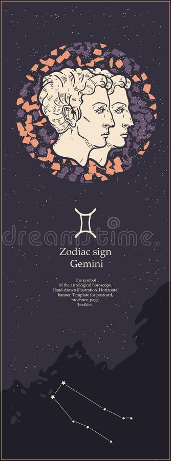 Dierenriemteken Tweeling Het symbool van de astrologische horoscoop Het gezicht van Hand-drawn vrouwen illustration Verticale ban vector illustratie