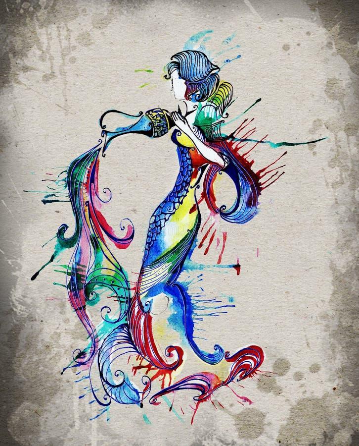 Dierenriemteken van Waterman als mooie meisjes vector illustratie