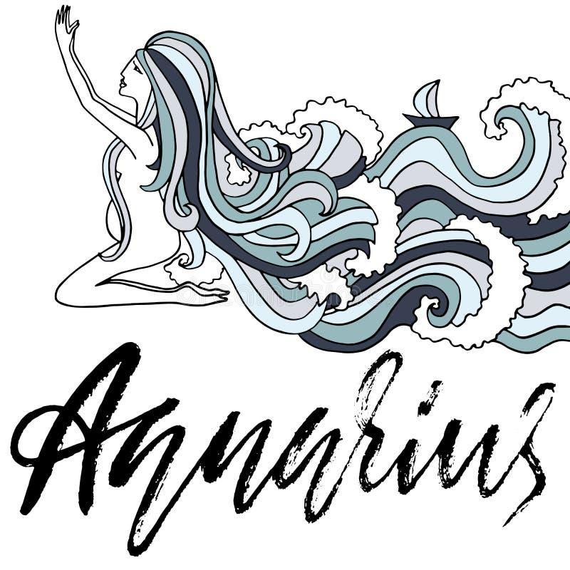 Dierenriemteken van Waterman Astrologie vectorillustratie Schets op witte achtergrond wordt geïsoleerd die Het met de hand geschr vector illustratie