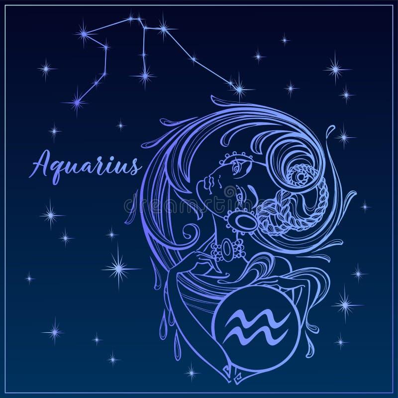 Dierenriemteken Waterman als mooi meisje De Constellatie van Waterman De hemel van de nacht horoscope astrologie Vector royalty-vrije illustratie