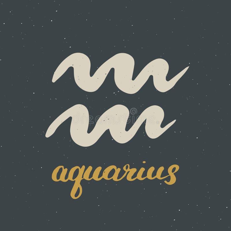 Dierenriemteken Waterman en het van letters voorzien Het hand getrokken symbool van de horoscoopastrologie, grunge geweven ontwer vector illustratie