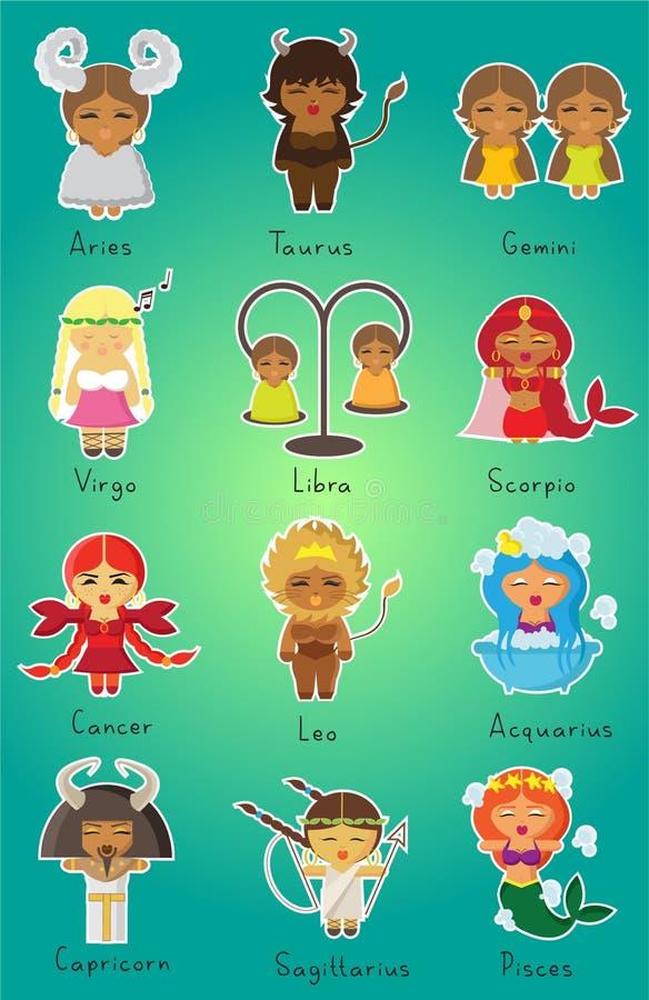 12 dierenriemtekens voor meisjes royalty-vrije illustratie