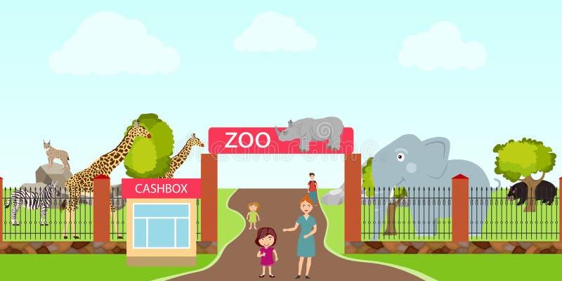 Dierentuin, ingang aan de dierentuin, dieren in de dierentuin Een olifant, een nijlpaard, een giraf, een rinoceros, een zebra royalty-vrije illustratie