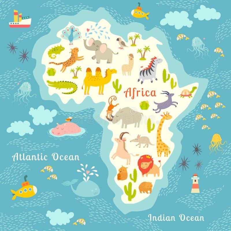 Dierenwereldkaart, Afrika Mooie vrolijke kleurrijke vectorillustratie voor kinderen en jonge geitjes Met de inschrijving van ocea royalty-vrije illustratie