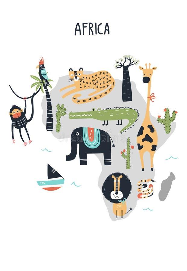 Dierenwereldkaart - vasteland Afrika Leuke hand getrokken kinderdagverblijfdruk in Skandinavische stijl Vector illustratie vector illustratie
