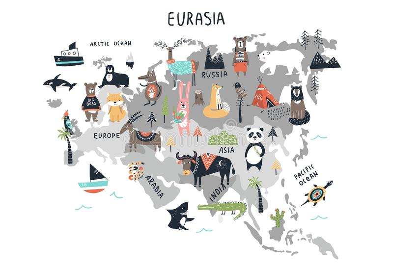 Dierenwereldkaart - vasteland Eurasia De leuke druk van het beeldverhaalhand getrokken kinderdagverblijf in Skandinavische stijl  vector illustratie