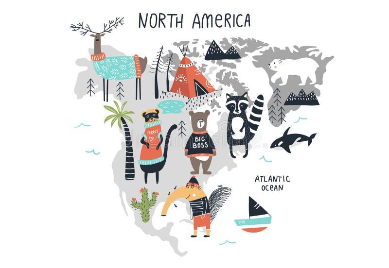 Dierenwereldkaart - vasteland Noord-Amerika Leuke hand getrokken kinderdagverblijfdruk in Skandinavische stijl Vector illustratie stock illustratie
