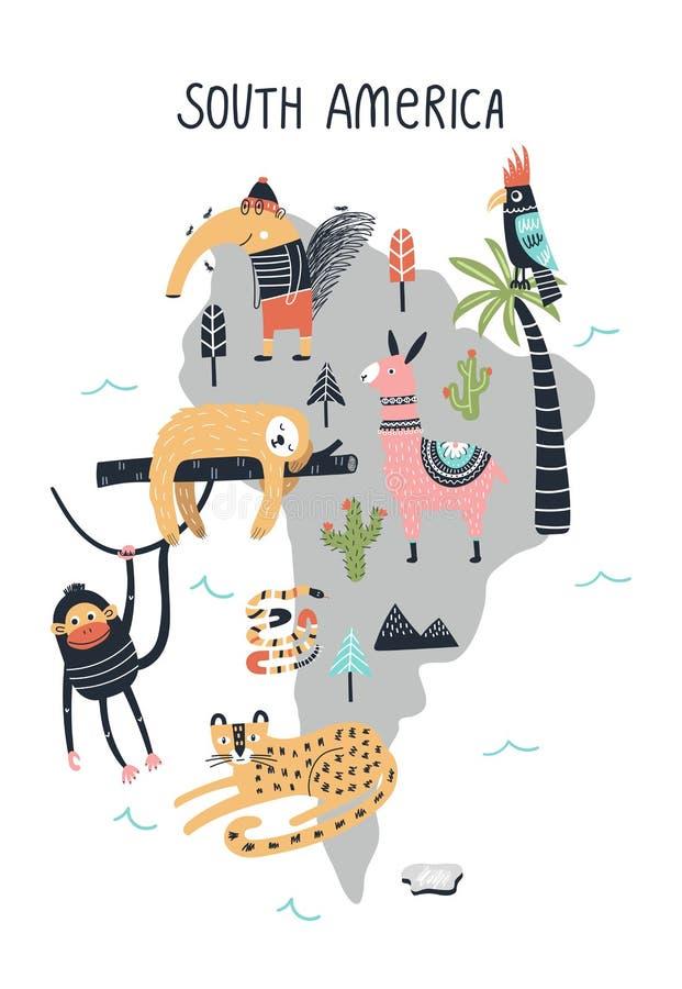 Dierenwereldkaart - Zuid-Amerika Leuke hand getrokken kinderdagverblijfdruk in Skandinavische stijl Vector illustratie stock illustratie