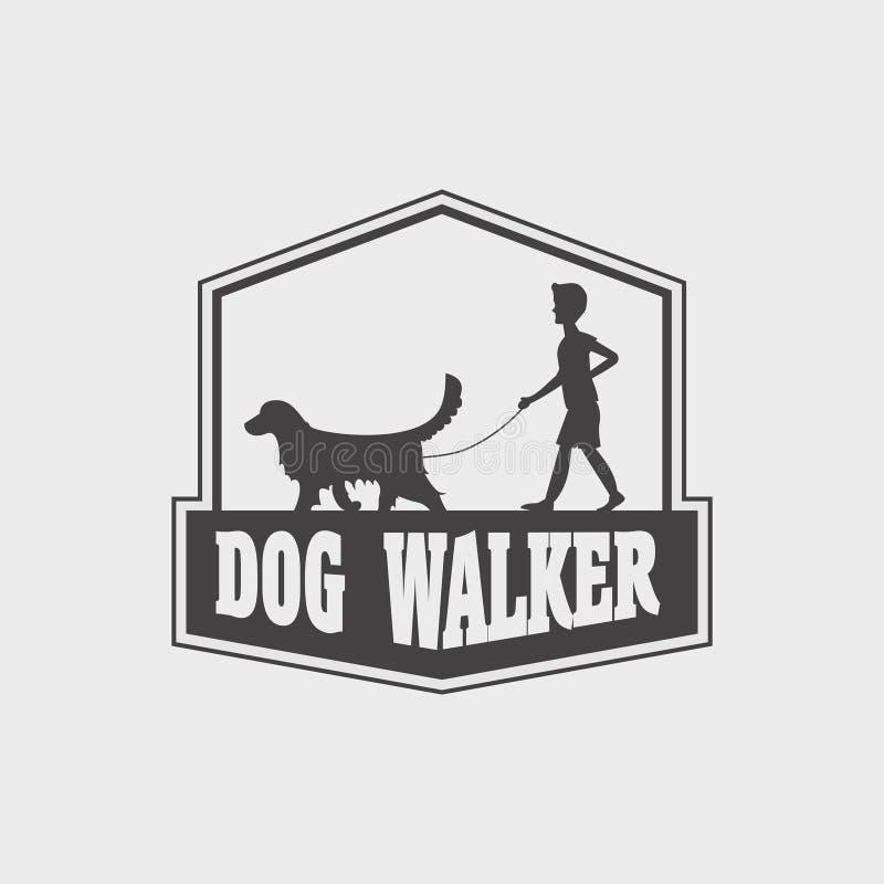 Dierenwinkel of opslagembleem, etiketconcept Het silhouet van de hondleurder van hondgolden retriever en jongen of de jonge mens vector illustratie