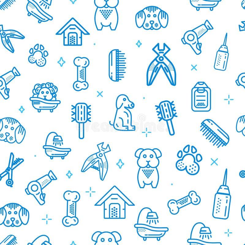 Dierenwinkel Vector naadloos patroon De pictogrammenontwerp van de hondtoevoerlijn royalty-vrije illustratie