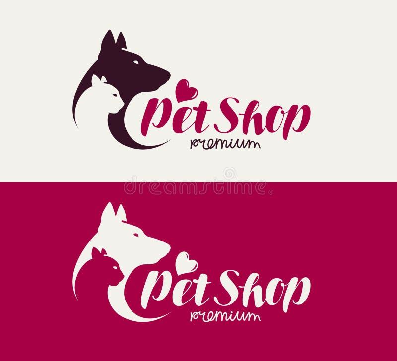 Dierenwinkel of veterinair kliniekembleem Dieren, hond, kattenpictogram Van letters voorziende Vectorillustratie stock illustratie
