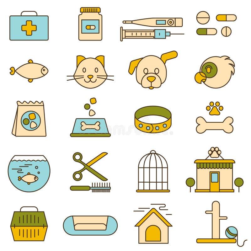Dierenwinkel, veterinaire kliniek, pictogrammen vector illustratie