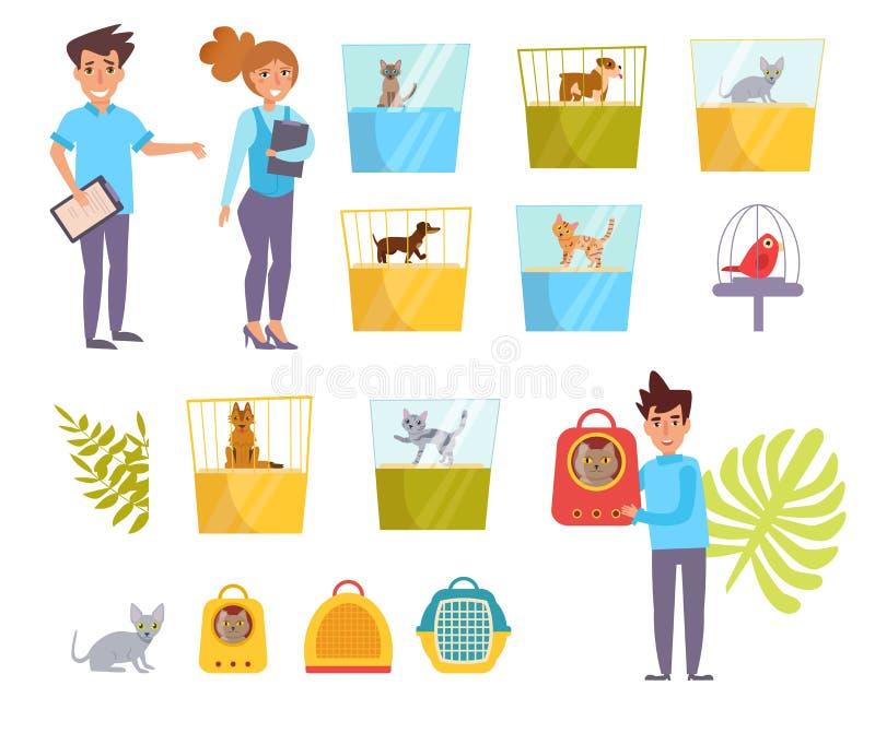 Dierenwinkelvector beeldverhaal Geïsoleerd art. De vlakke Kat toont het Werk royalty-vrije illustratie