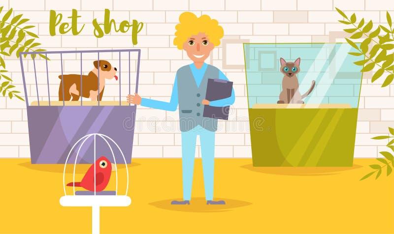 Dierenwinkelvector beeldverhaal Geïsoleerd art. De vlakke Kat toont de Mens royalty-vrije illustratie