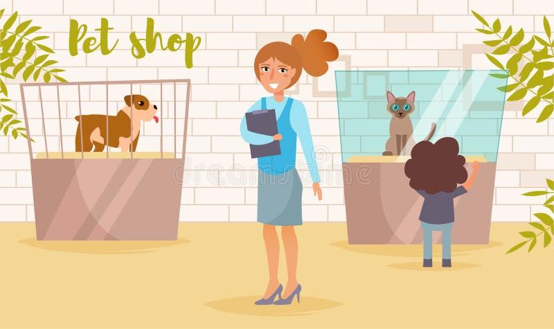 Dierenwinkelvector beeldverhaal Geïsoleerde kunst op witte achtergrond vlak stock illustratie