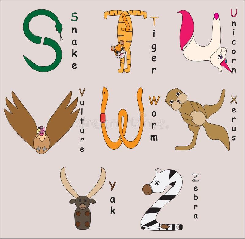 Dierlijk alfabet stock fotografie
