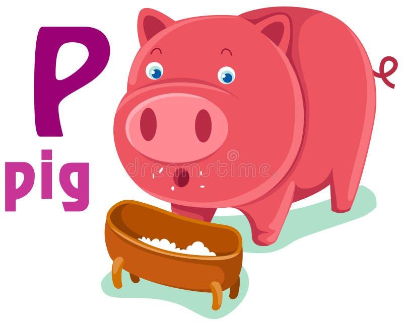 Dierlijk alfabet P stock illustratie